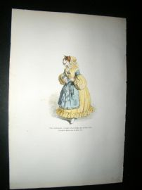 Grandville des Animaux 1842 Hand Col Print.  Cat With Missing Fingers